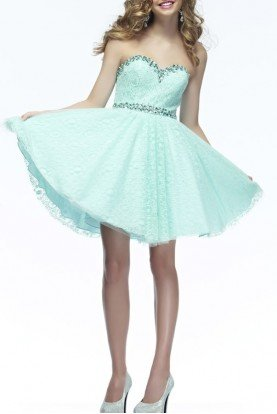 L670 Mint Lace Strapless Homecoming Party Dress