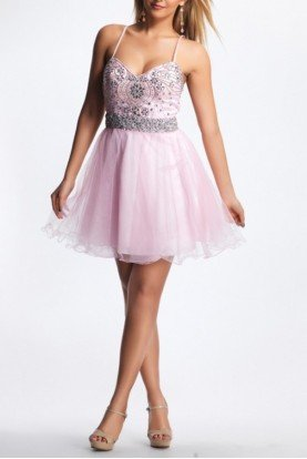 8323 Pastel Pink Beaded Tulle Homecoming Dress
