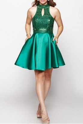 Emerald Green Beaded Homecoming Party Dress