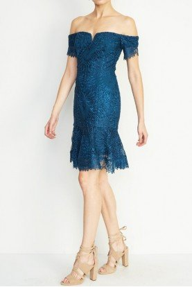 Teal Lace Off Shoulder Scalloped Cocktail Dress