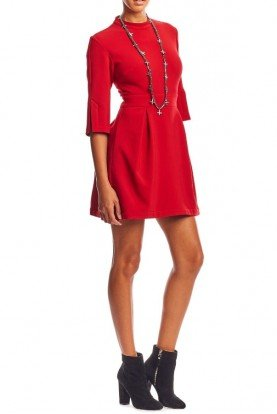Red Stretchy Quarter Sleeve Mock Neck Short Dress