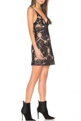 Free People Black Nude Mini Beaded Lace Night Shimmer Dress