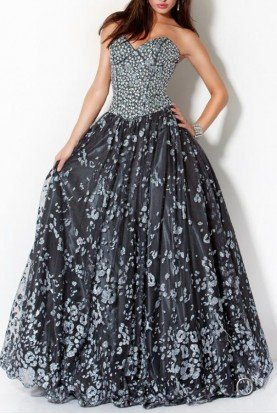 Jovani Crystal Embellished A Line Ball Gown in Gunmetal