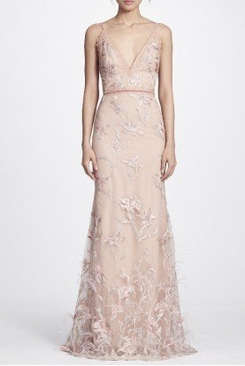 Marchesa Notte Blush Feather Embroidered Sleeveless Evening Gown