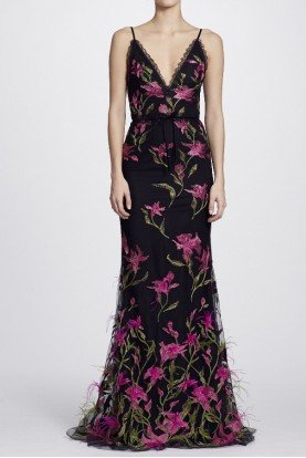 Marchesa Notte Black Feather Embroidered Sleeveless Evening Gown