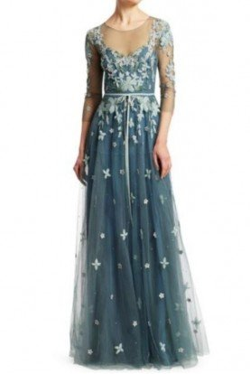 Marchesa Notte Blue Quarter Sleeve Floral Tulle Evening Gown
