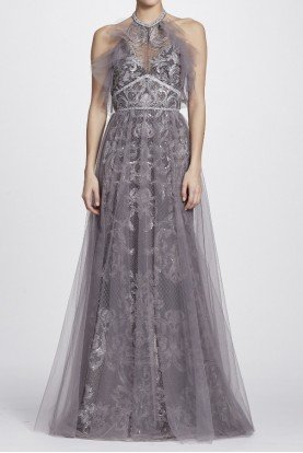 Marchesa Notte Silver Halter Neck Metallic Evening Gown