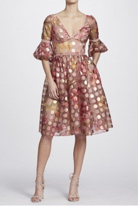 Marchesa Notte Blush A Line Polka Dot Cocktail Dress