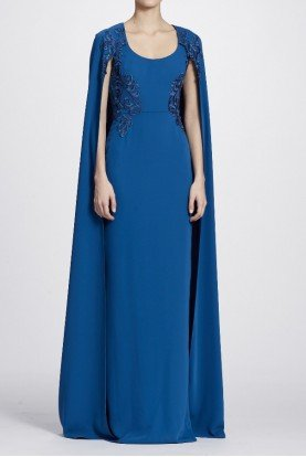 Marchesa Notte Peacock Blue Sequin Embroidered Cape Gown