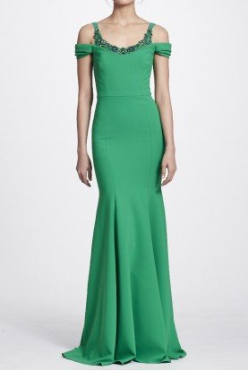 Emerald Green Cold Shoulder Stretch Crepe Gown