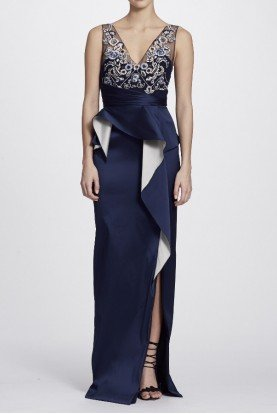 Marchesa Notte Navy BlueTwo Tone Stretch Mikado Column Gown