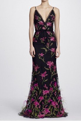 Marchesa Notte Black Feather Floral Embroidered Sleeveless Gown