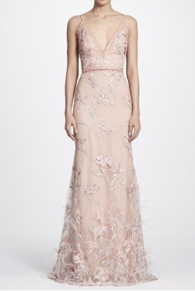 Marchesa Notte Blush Pink Feather Embroidered Sleeveless Gown