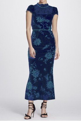 Navy Blue Velvet Cap Sleeve Floral Midi Tea Dress