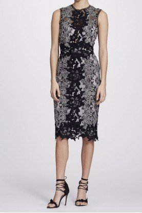 Marchesa Notte Black Lace Sleeveless Color Block Cocktail Dress