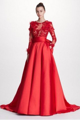 Marchesa Red Corded Lace and Duchess Satin Ball Gown