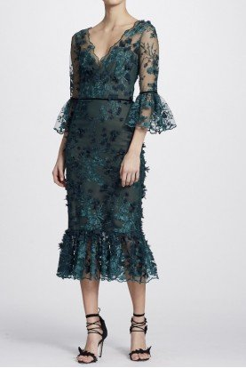 Marchesa Notte Emerald Green Sleeve Embroidered Midi Tea Dress