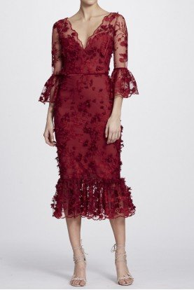 Marchesa Notte Red Bell Sleeve Embroidered Midi Tea Dress