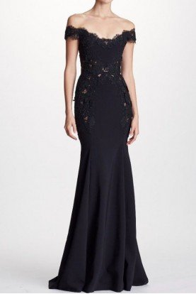 Marchesa Black Off Shoulder Crepe and Corded Lace Gown