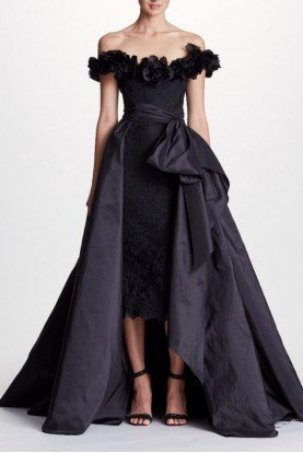 Marchesa Black Off Shoulder Lace Midi Dress with Overskirt