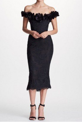 Marchesa Black Off Shoulder Corded Lace Midi Tea Dress