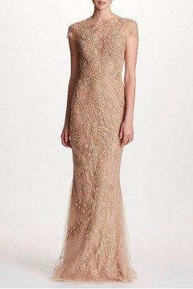 Marchesa Gold Cap Sleeve Tulle Column Gown