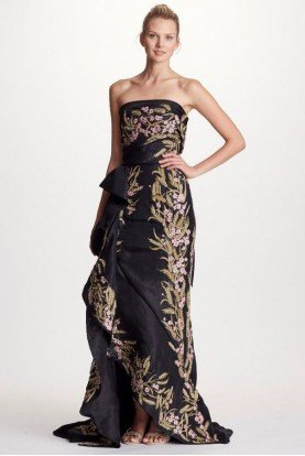 Marchesa Black Strapless Fully Embroidered Evening Gown