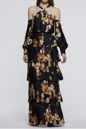 David Meister Black Multi Long Sleeve Tiered Floral Evening Gown