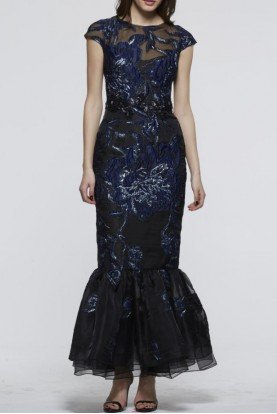 Navy Blue Cap Sleeve Evening Gown