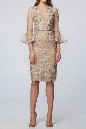 David Meister Gold Floral Lace Bell Sleeve Cocktail Dress