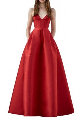 Alex Perry  Alder Red Italian Silk Sleeveless Gown