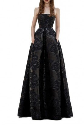 Alex Perry  Merrit Black Lurex Jacquard Gown