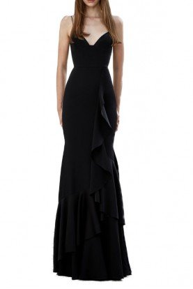 39f0ad9b69 Alex Perry Carrie Black Sleeveless Satin Ruffle Gown