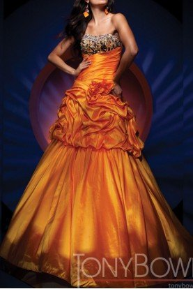 Orange Convertible Gown Beaded Taffeta
