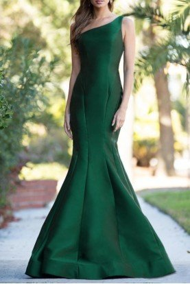 Colors Dress 1739 Emerald Green One Shoulder Evening Gown Dress
