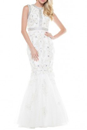 Colors Dress J058 White Beaded Evening Dress Bridal Gown