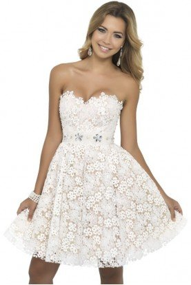 White Strapless 3D Floral Fit and Flare Lace Dress