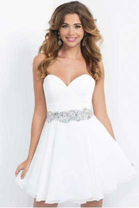 10059W White Sweetheart Strapless Fit Flare Dress