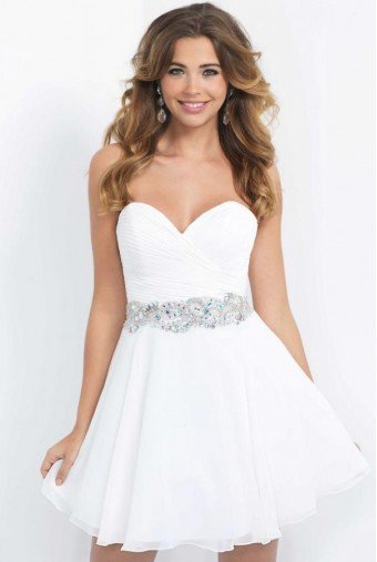 Blush Prom 10059W White Sweetheart Strapless Fit Flare Dress