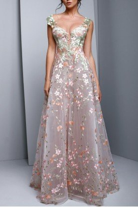 Beside Couture by Gemy Pink Embroidered Floral Evening A Line Ball Gown