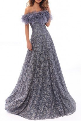 Smoke Blue Lace Off Shoulder A Line Ball Gown