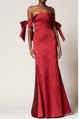 Ruby Red Off Shoulder Christiane Evening Gown