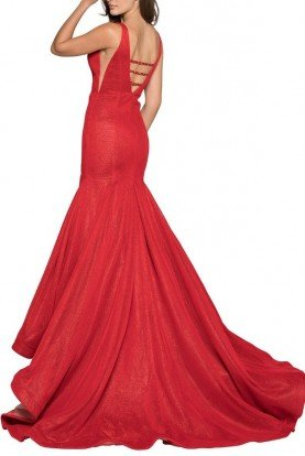Colors Dress 1932 Deep V Neck Glamour Red Cutout Evening Gown