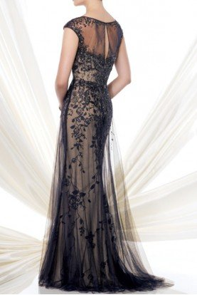 Mon Cheri 115D74 Nude Navy Beaded Evening Gown Dress