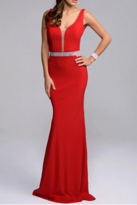 Plunging V Neck Red Evening Gown With Belt Detail