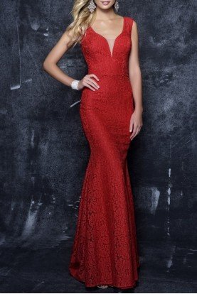 7354 Red Lace Plunging V Neck Evening Gown Dress