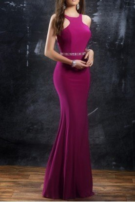 1321 Magenta Pink Open Back Evening Gown