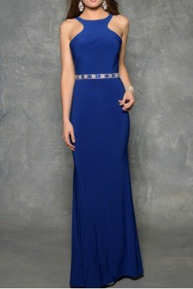 1321 Royal Blue Open Back Evening Gown