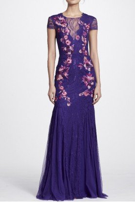 Marchesa Notte Purple Short Sleeve Floral Embroidered Gown