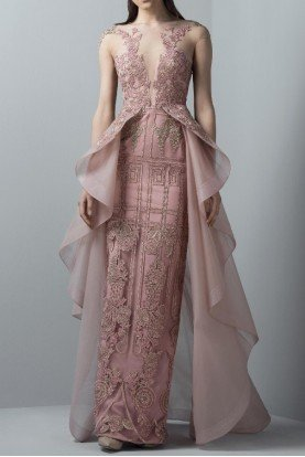 SK by Saiid Kobeisy Orchid Pink Tulle Illusion Gown with Overskirt